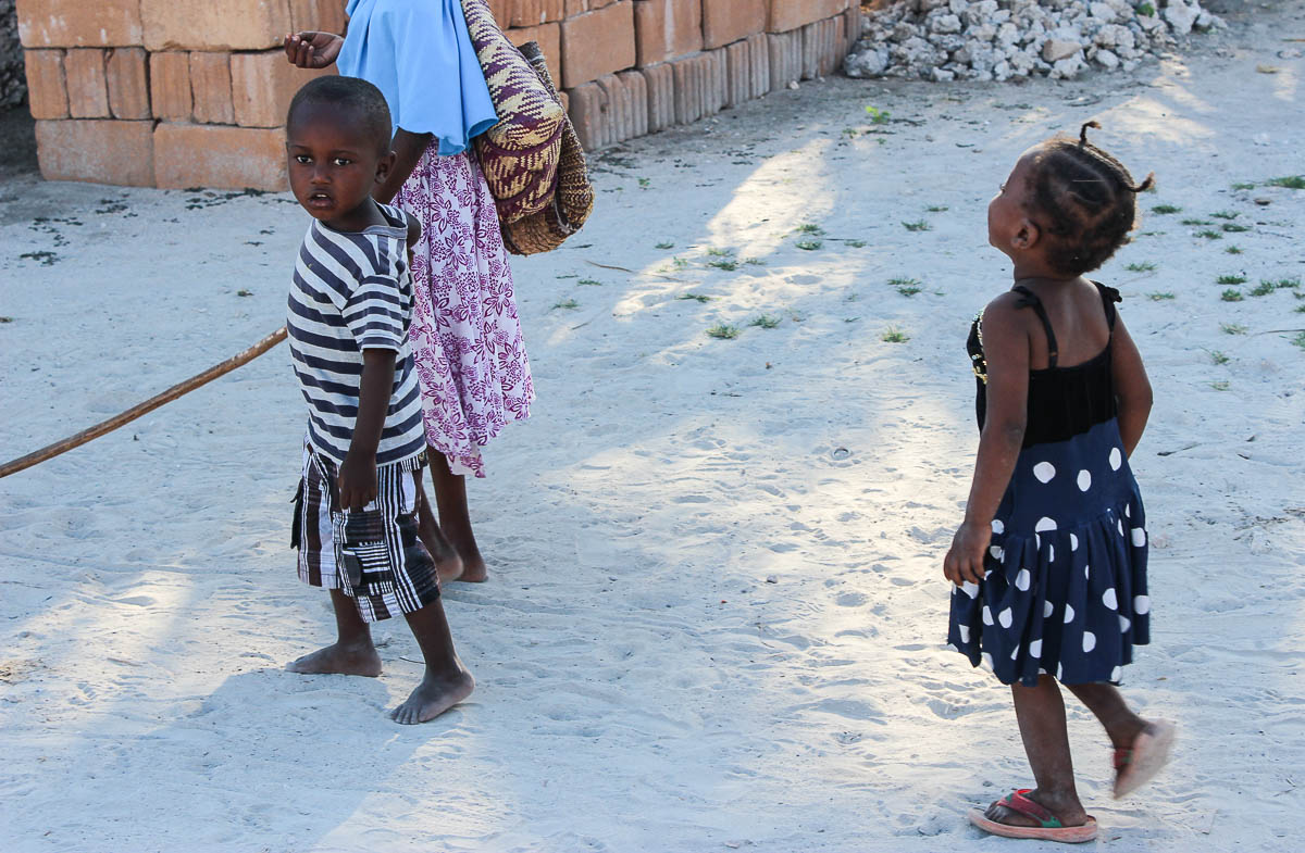 kids playing in streets of Jambiani Zanzibar
