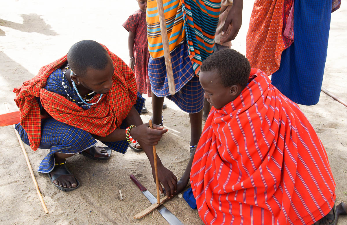 Massai doing fire in Tanzania