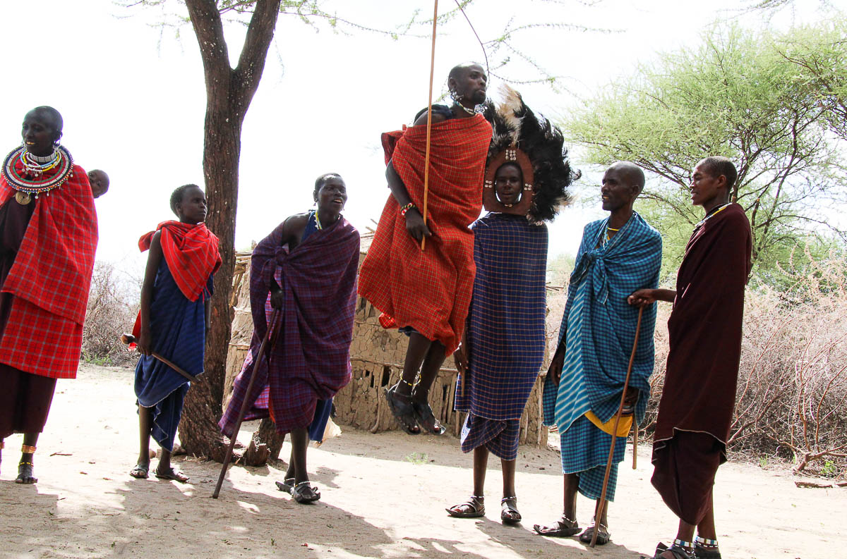 Massai jumping and dancing in Tanzania