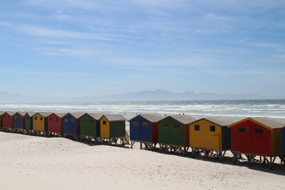 coloured beach houses Muizenberg