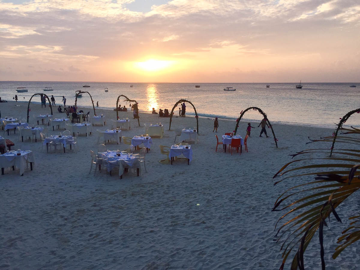 romantic dinner at Nungwi beach at sundowner