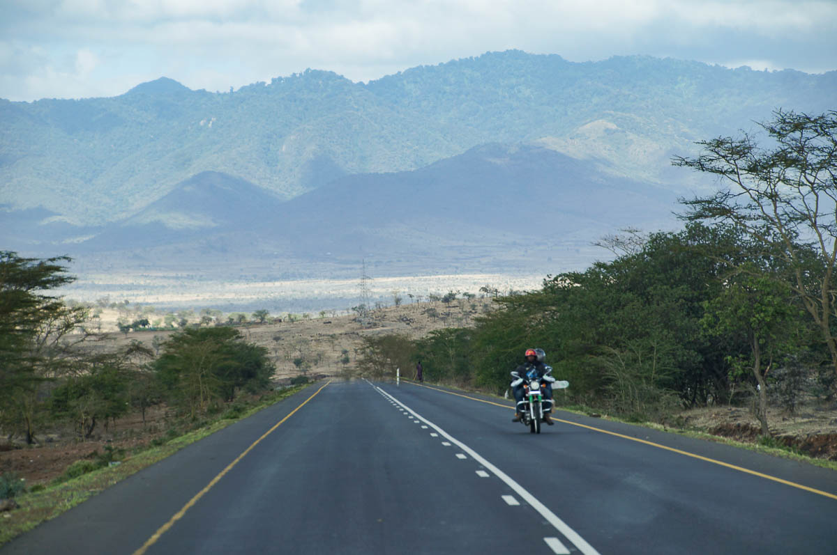 motorcyclists on highway to Tarangire Nationalpark