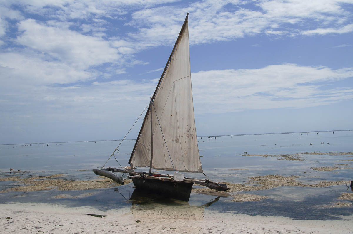 sailing boat at Matemwe beach at low tide