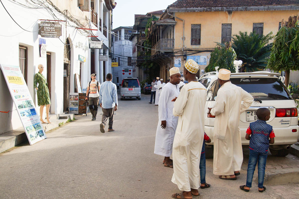 men in Kaftan in streets of Stonetwon