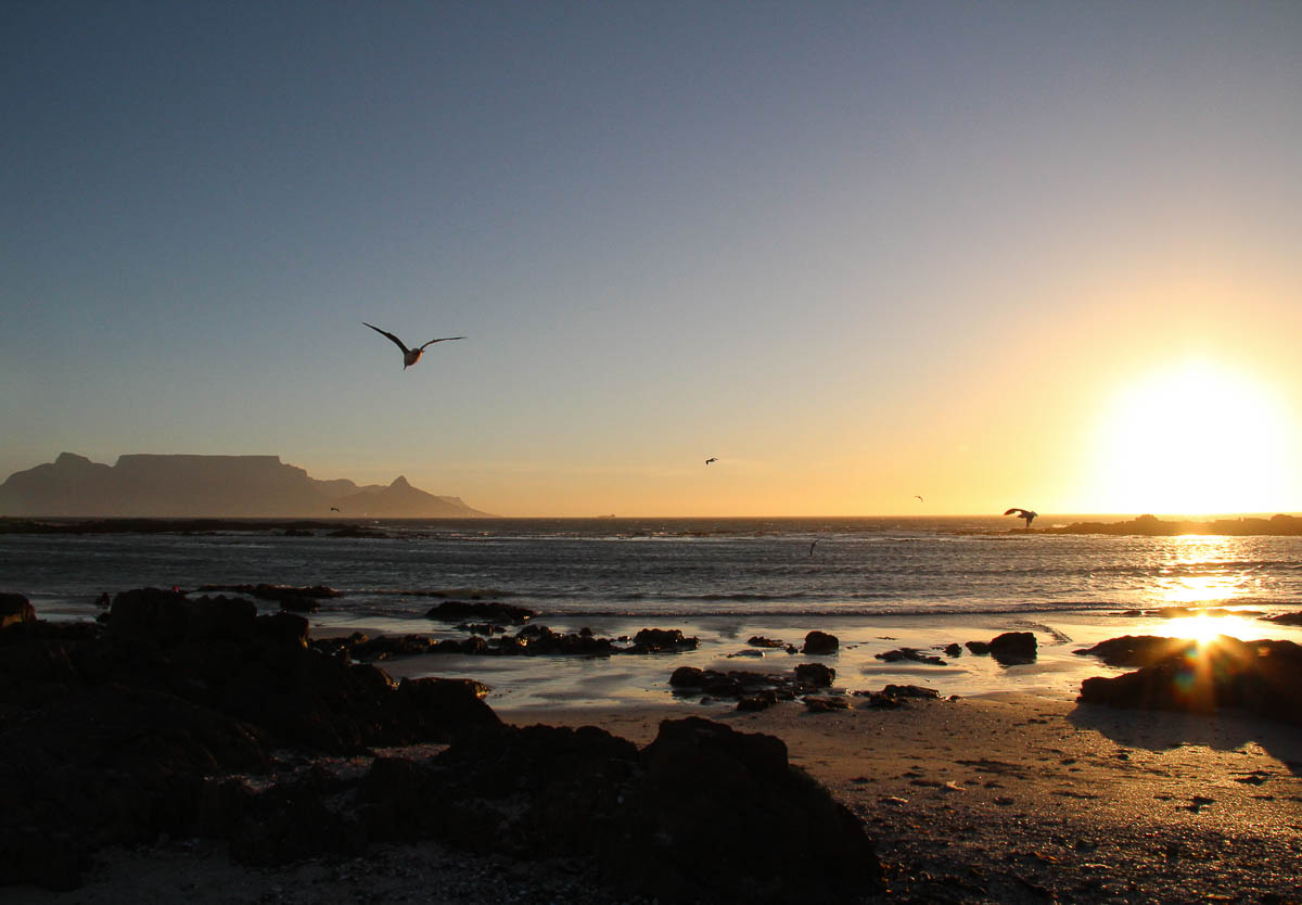 view from Blouberg beach sunset table mountain