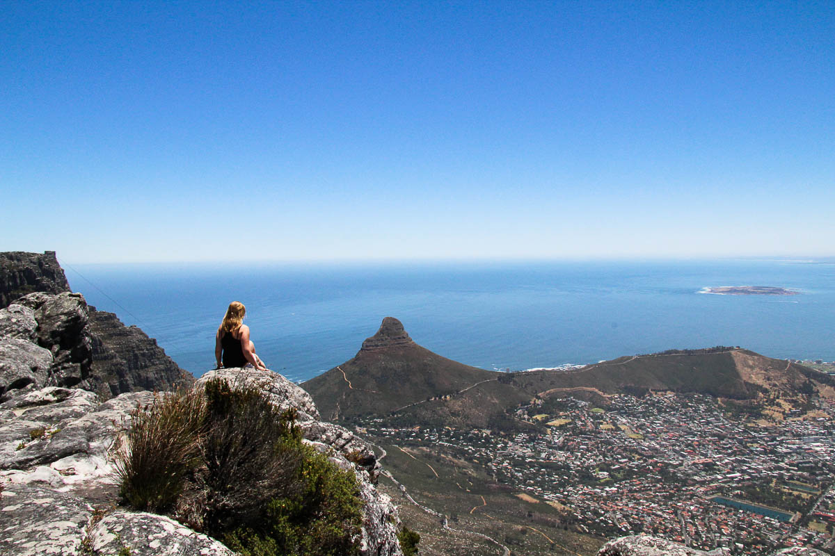 overlooking capetown from table mountain