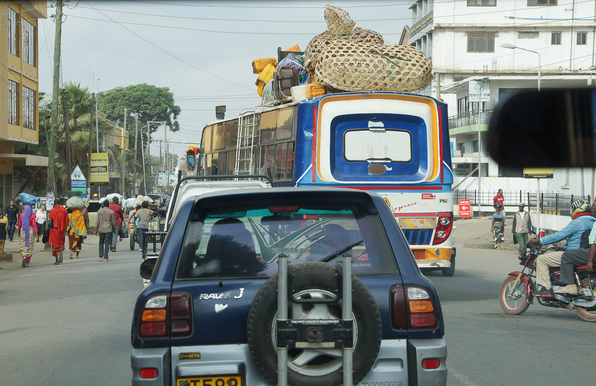 overloaded bus on streets of Arusha