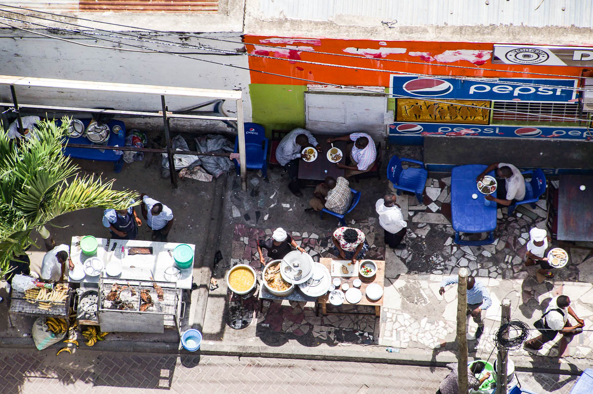 looking on street food sellers from above in Daressalam