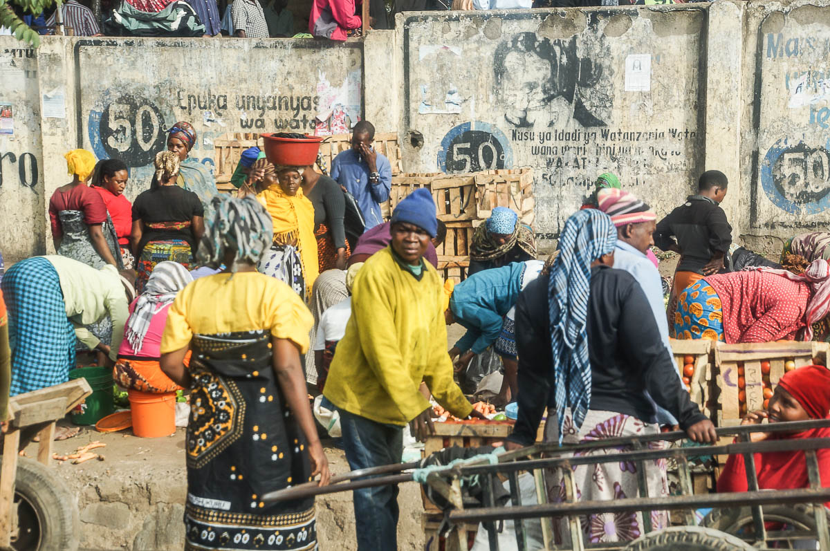 people in front of market entrance Arusha